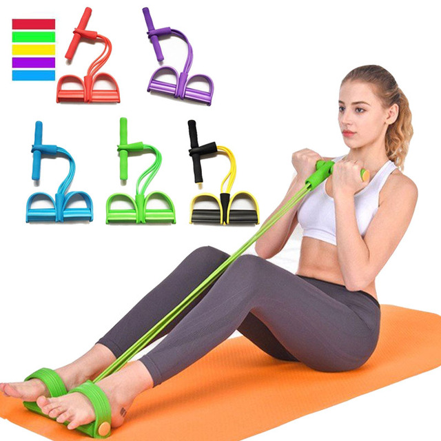 4 Tube Fitness Elastic Pull Rope Foot Pedal Body Slim Yoga Resistance Bands 4 Colors Workout Latex Bands Fitness Equipment