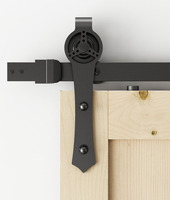DIYHD 5ft/6ft Rustic Black Triangle Darts Cut Wheel Sliding Barn Door Hardware Shipping from US warehouse