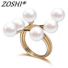 ZOSHI Brand 2019 New Ring Fashion Elegant simulated Pearl Opening Rings women jewelry big discount finger ring(China)