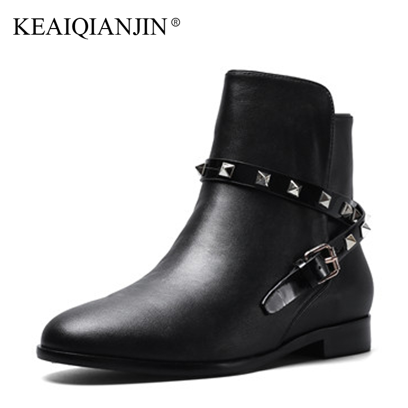 KEAIQIANJIN Woman Rivet Motorcycle Boots Autumn Winter Buckle Strap Ankle Boots Black Fashion Genuine Leather Martens Boots 2017 women martin boots 2017 autumn winter punk style shoes female genuine leather rivet retro black buckle motorcycle ankle booties
