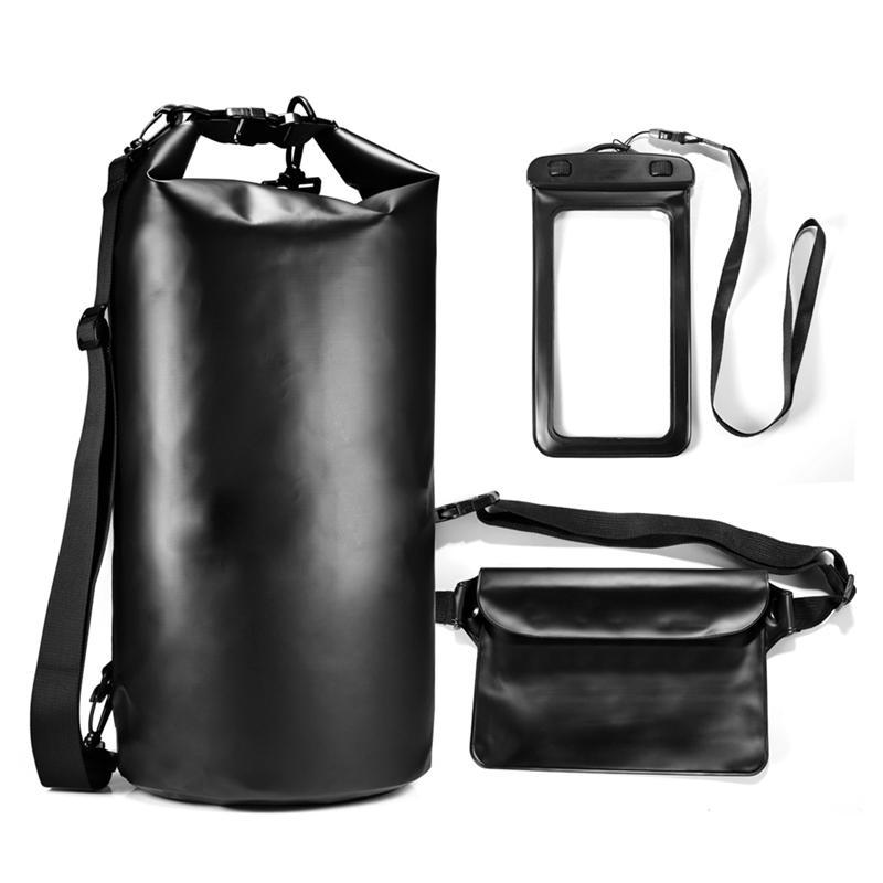 LUOEM Multifunctional Bucket Bag Suit Outdoor Camping Swimming Rafting PVC Dry Bag with Waist Bag Phone Waterproof Bag