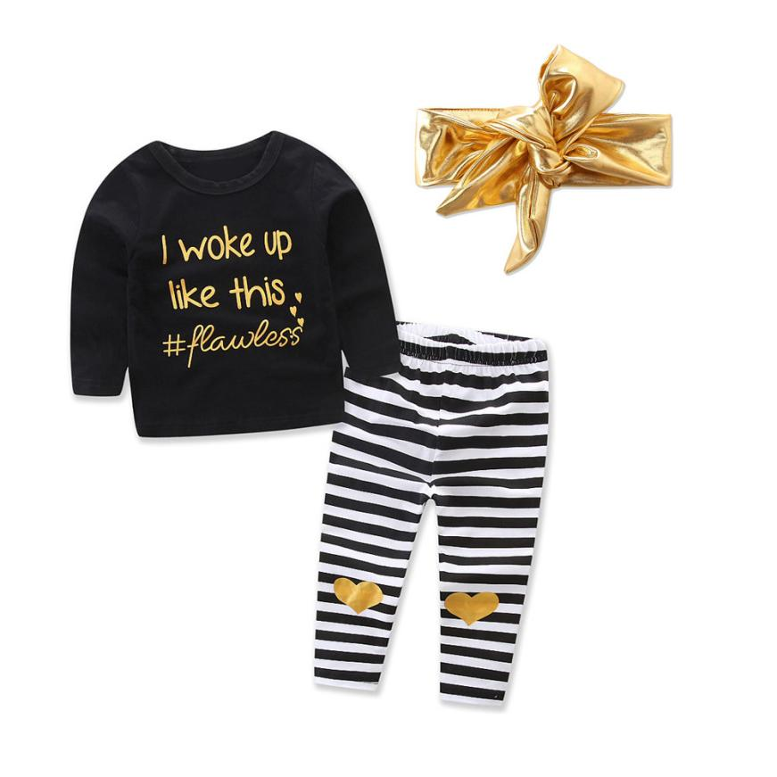 Newborn Infant Baby Boy Girl Clothes Long Sleeve Letter T Shirt Tops+Heart Strip Pants Sequined Headband 3pcs Set Outfits 0-24M
