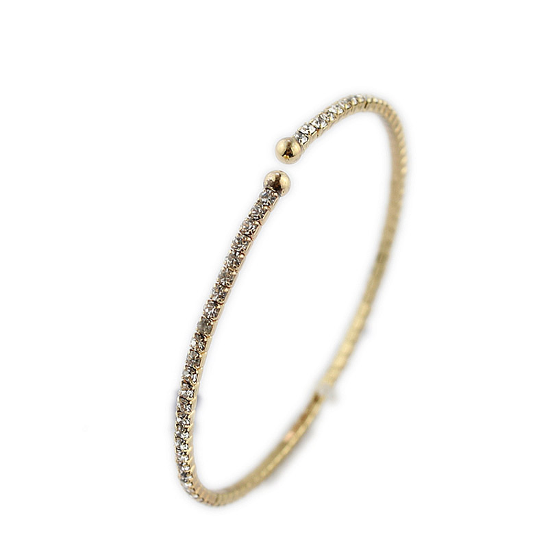 2017 New Fashion Jewelry Gold Color Exquisite Rhinestone Bangles For Women  Open Bracelet Korean Crystal Bangles fd24f26053b1