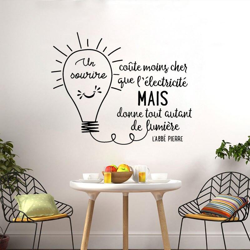 Stickers muraux Citation Un Sourire Coute vinyle Mural Art décalcomanie salon décor à la maison affiche français Citation maison décoration