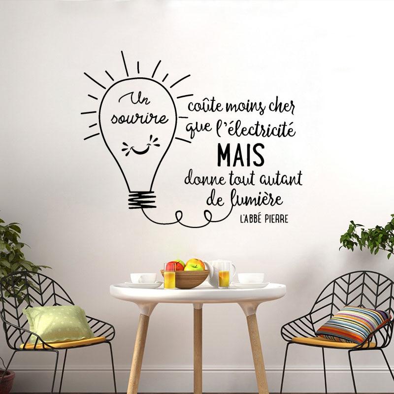Autocollants muraux en vinyle Citation Un Sourire Coute, étiquette d'art Mural, décoration de maison, affiche de Citation française