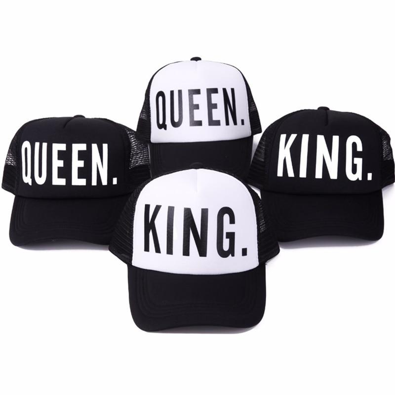 2017 new KING QUEEN Print Trucker Caps Men Women Polyester Mesh Summer Flat Visor Snapback Hat White Black Couple Gifts king rivet flat brimmed hat black golden