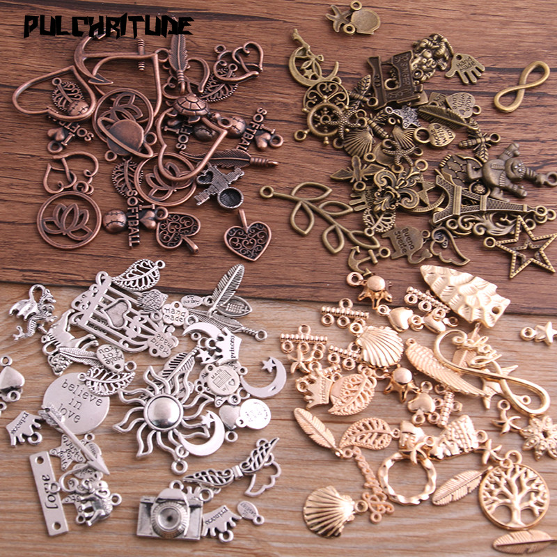 20pcs Vintage Metal 4color Mix Size Random 20-200 Style Charms Pendant for Jewelry Making Diy Handmade Jewelry(China)