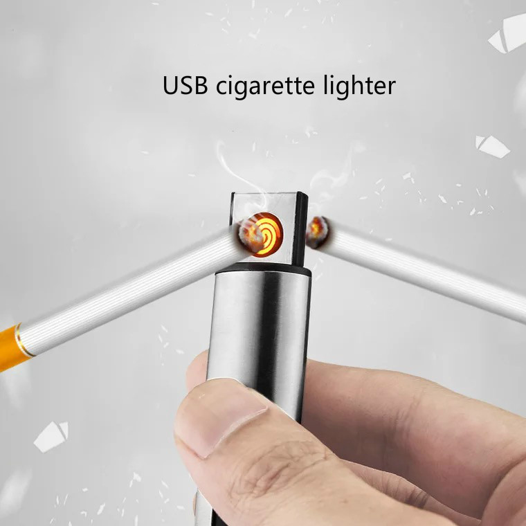 USB Recharge Cigarette Lighters Windproof lighters Flameless creative electronic cigarette lighter Personality for man
