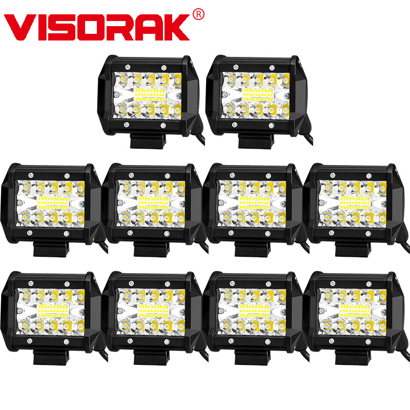 VISORAK 10pcs lot 4 60W LED Work Light Bar Offroad LED Bar For Car 4x4 4WD