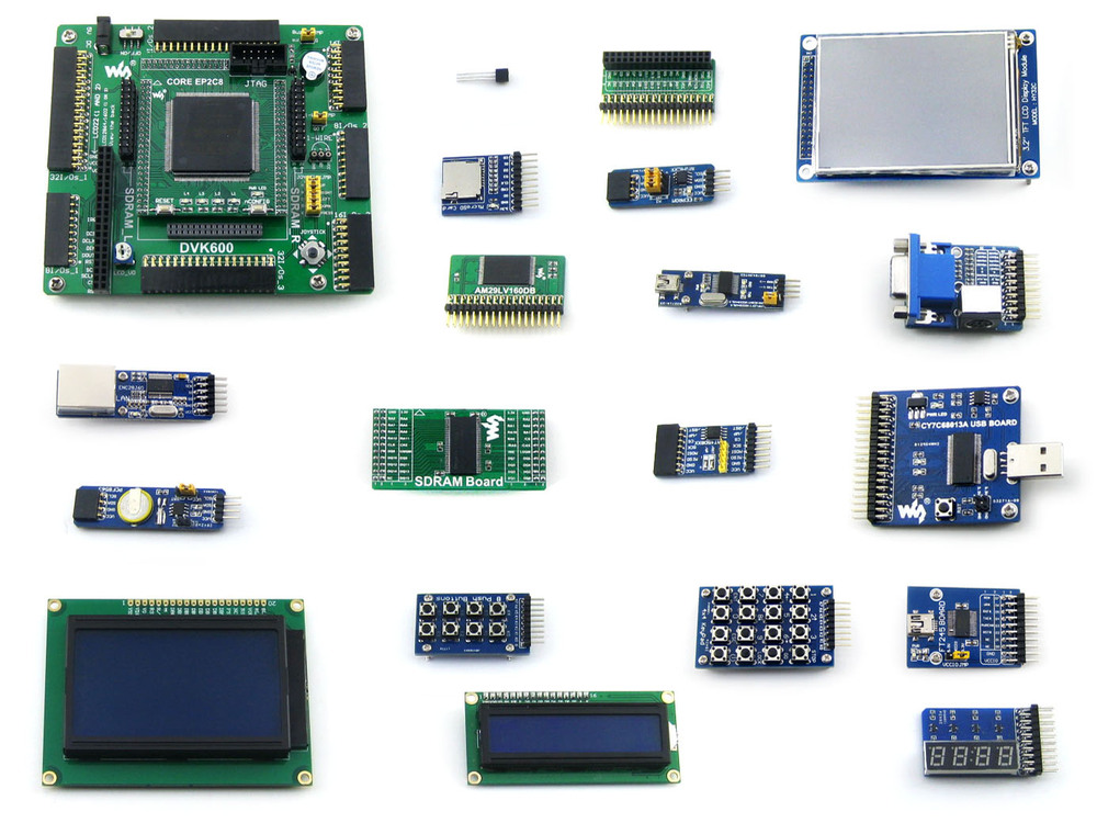 Altera Cyclone Board EP2C8Q208C8N ALTERA Cyclone II FPGA Development Board+3.2inch LCD+18 Modules Kits=OpenEP2C8-C Package B altera cyclone board coreep2c8 ep2c8q208c8n ep2c8 altera cyclone ii cpld
