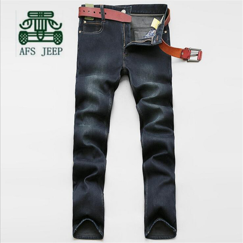 AFS JEEP Solid High Quality Mans Winter Cashmere Keep Heat Denim Pant,2016 Man Black Mid Waist Casual Straight Keep Warmly Jeans afs jeep chariot 2016 autumn man s denim cotton jeans back pockets fashion man s leisure mid waist jeans fall cow boy s jeans