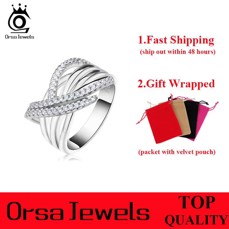 ORSA JEWELS 2017 Luxury Women Silver Color Ring with 48 Pieces AAA Cubic Zirconia Unique Cross Design Ring For Women OR82