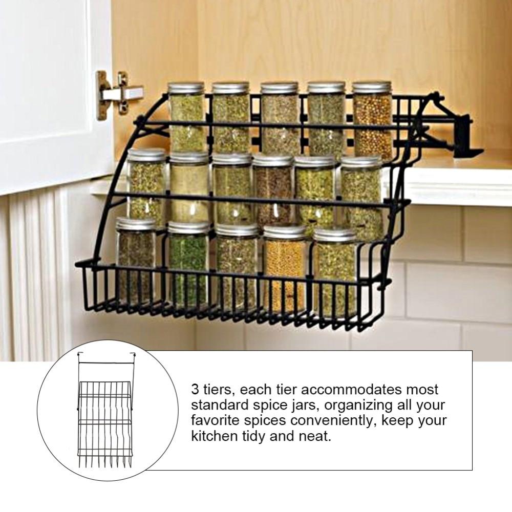 Rack De Stockage d'épices Enduit Fil De Fer 3 Tier Élevée Pots À Épices Bouteilles Rack Cuisine Étagère De Rangement Organisateur dans   de