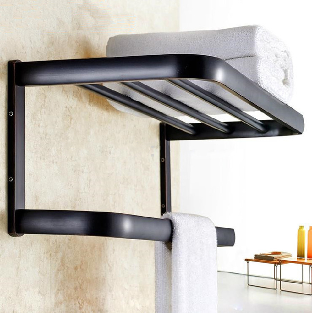 Bathroom Shelves Solid Brass Towel Hanger 2-Tier Towel Holder Racks Bath Storage Rail Wall Bathroom Accessories Towel Bars 81344 bathroom shelves 5 towel hooks brass 2 tier rails towel bars wall shelf bath hangers bathroom accessories towel holder fe 8601