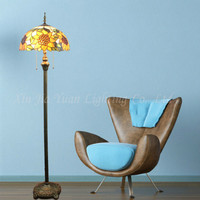New Creative Retro Tiffany Golden Sun Flower Colorful Glass Led E27*2 Floor Lamp For Living Room Study Bedroom Deco H 153cm 2260