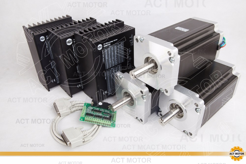 3AXIS Power CNC Kit ACT Motor Nema42 Stepper Motor 42HS2480 201mm 8A 4200oz in 3PC Driver