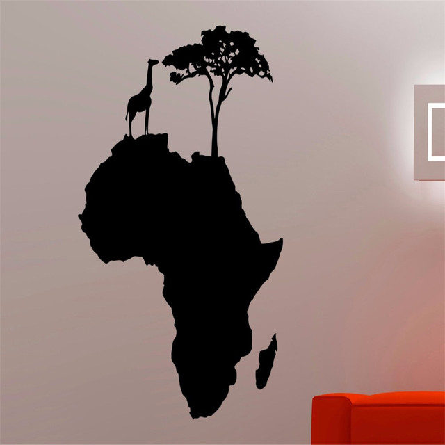 Africa Map Wall Decal African Animal Tree Decorations Home Living Room Bedroom Decor Vinyl Art
