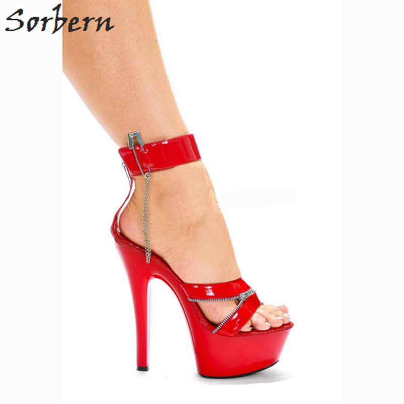 Sorbern Red Ladies Heel Sandal Open Toe Lace-Up Women Shoes High Heels Sexy  Sandals 3b96804d0ebc