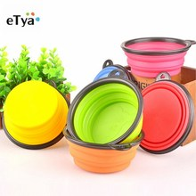 eTya 1pc Silicone foldable Travel Dog Bowl Collapsible Premium Quality Food Water Pet Travel Bowls