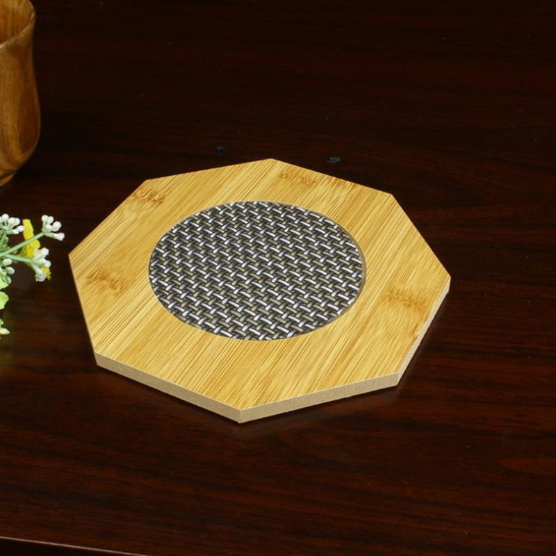 Resistent Placemat Beech Coasters Octagon Shape Solid Wood Cup Mat table mat home bar tool F20173711 ...