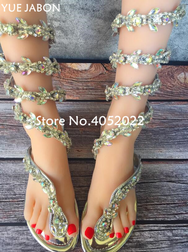 Bling Snake Punk Rhinestone Lady Knee High Boots Flat Heels Stiletto Woman  Summer Sandal Boots Crystal 4f9b5a0551d3