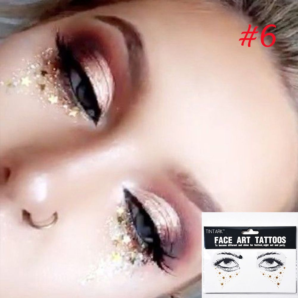 1Pcs New Arrival Disposable Gold Face Tattoo Stickers Waterproof Bronzing Beauty Freckles Makeup Flash Body Art Sticker