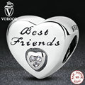 Gift for Friend 925 Sterling Silver Friendship Heart, Clear CZ Beads Charms fit Pandora Bracelets Women Fashion DIY Jewelry S324