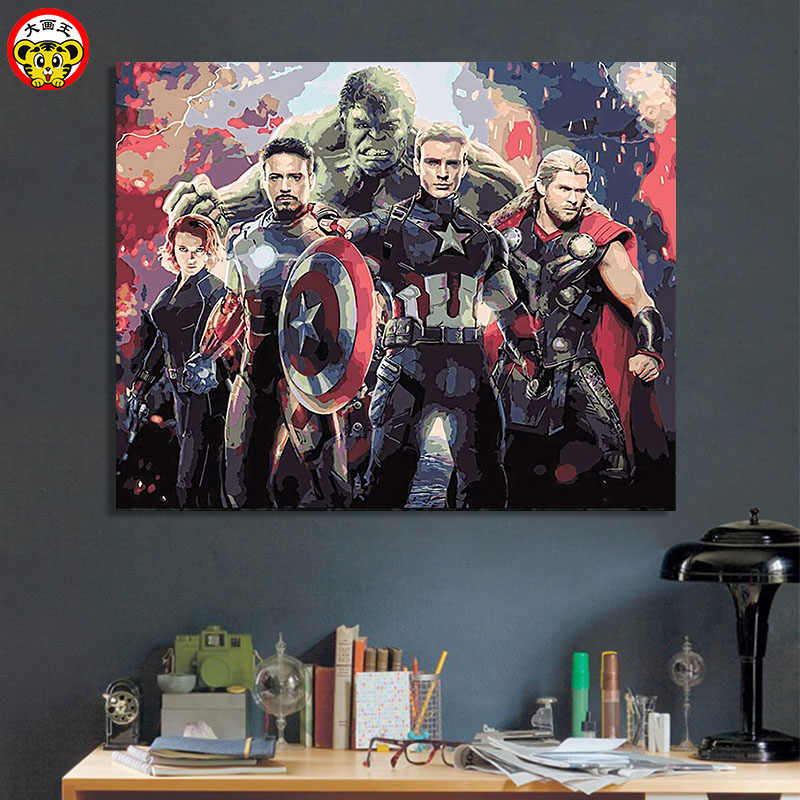 painting by numbers art paint by number Big Picture King DIY   Movie Character Avengers Alliance Captain America Hulk Iron Man R