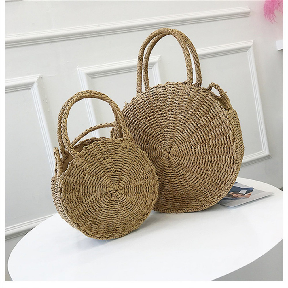Hot Women Round Rattan Bag Summer Female Handbag Straw Knitted Wicker Bags Beach Tote bolsa feminina Bags For Women 2018