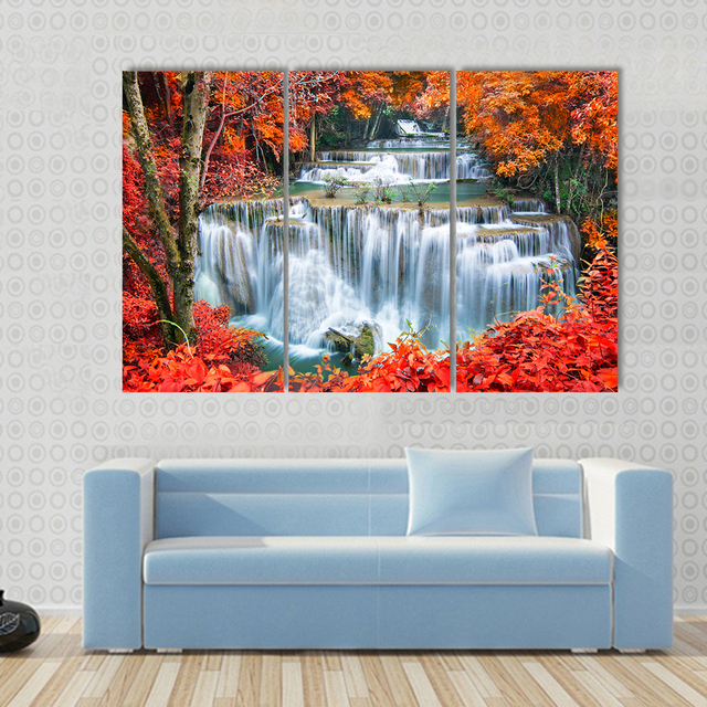 84a87ab4ee5 3 Pcs Set Large Abstract Waterfall in autumn forest Canvas Print Painting  Landscape Earth Wall Art Picture Home Decor