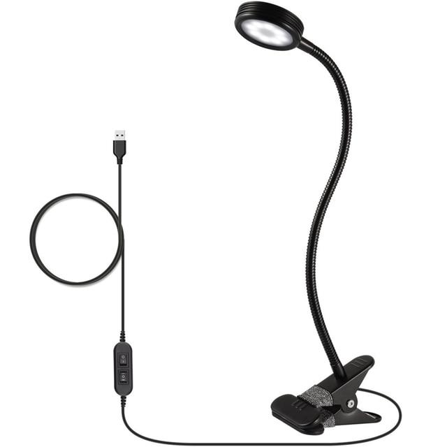 USB Reading Light 5W Desk Lamp Adjustable Clip LED Desk  Table Lamp 2 Level Brightness and Color Control