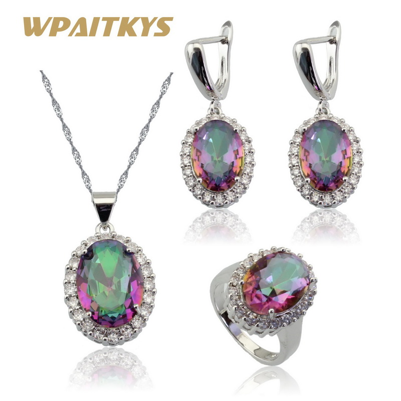 0009c28fe45e WPAITKYS Round Multicolor Rainbow Crystal Silver Color Jewelry Sets For  Women Earrings Necklace Pendant Ring Gift Box