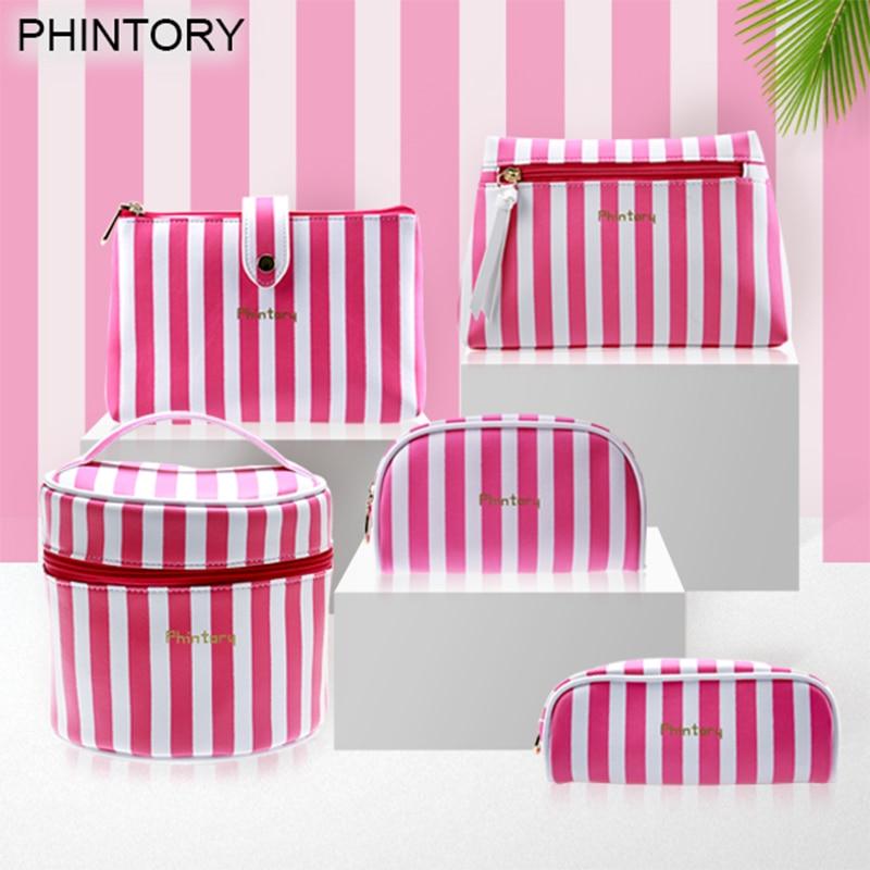 5Pcs Cosmetic Bag Set Fashion Pink striped Waterproof Wash Bags Organizer Ladies Necessaire Toiletry Bag redfox сумка cosmetic 5 2200 кирпич