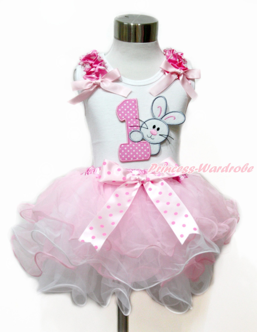 ФОТО Easter White Tank Top Hot Pink Bow 1st Pink White Dots Number & Bunny Rabbit White Pink Dots Bow Petal Pettiskirt MAMG1104