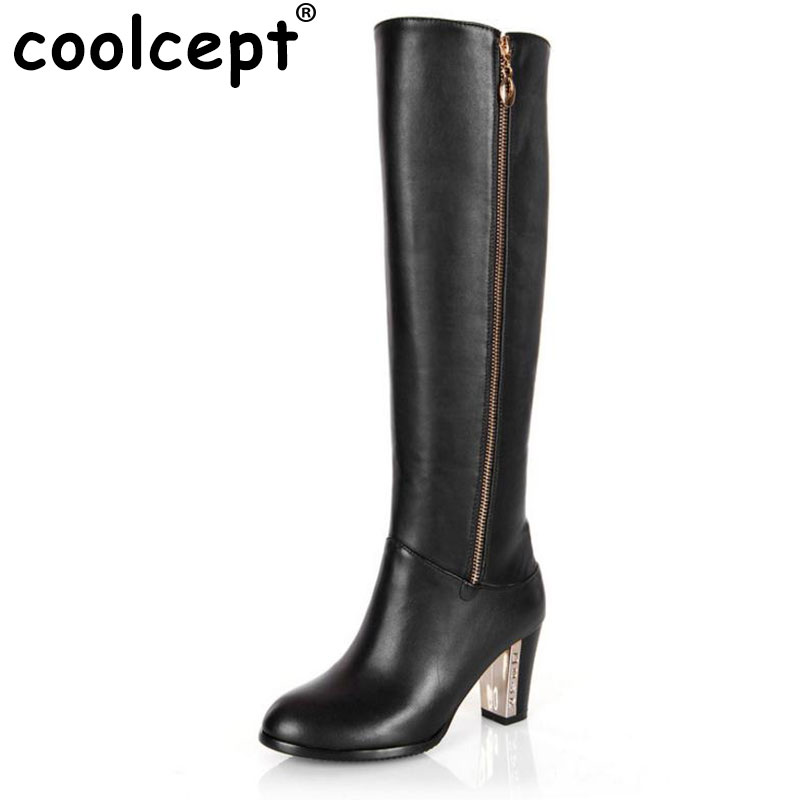 Coolcept Free shipping over knee long boots natural real genuine leather boots women snow high heel shoes R4642 EUR size 30-45 coolcept free shipping genuine leather quality high heel wedge sandals women fashion platform heels sandal r4222 eur size 34 39