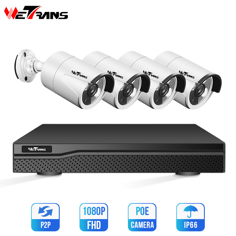 Wetrans Systems Ip-Camera Home-Surveillance-Kit Poe-1080p Nvr-Kit Night-Vision Outdoor