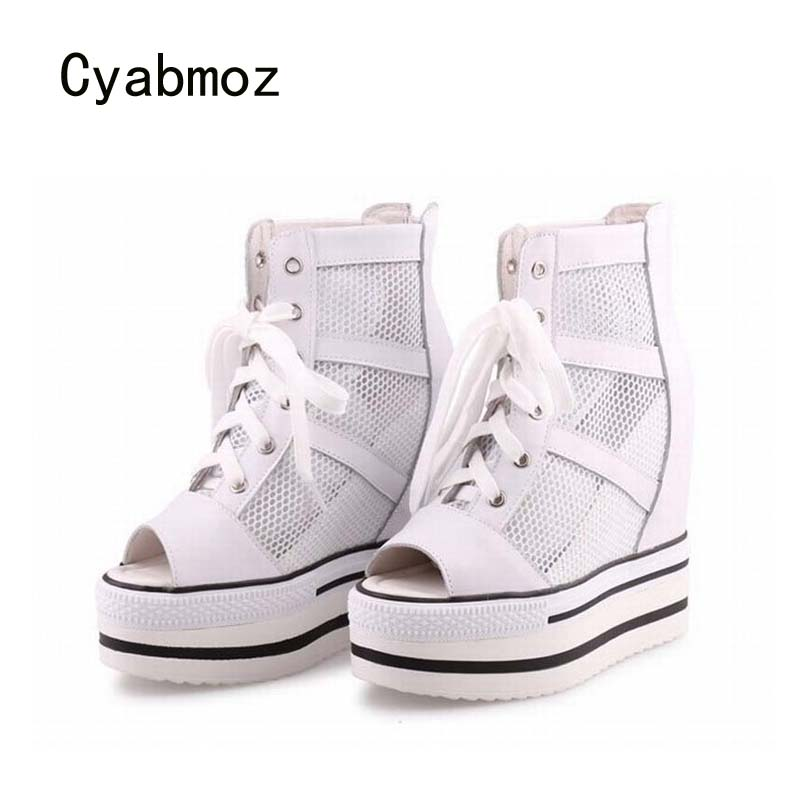 Toe Hauteur Tenis De Shoes Dames Zapatos forme Woman White Cyabmoz Wedge Femme Mujer Croissante Peep Partie Femmes Plate Talons Chaussures Feminino x1azwq87C