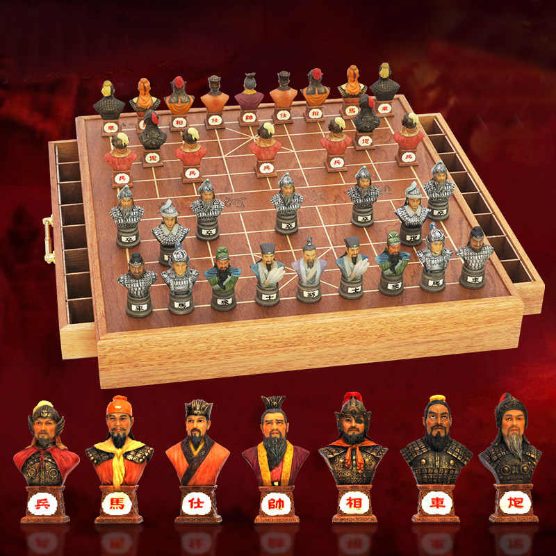 Bstfamly Chinese Chess Wooden Box 32pcsset Old Game Of Go Xiang Qi International Checkers Folding Toy Gifts No Magnetic Lc15