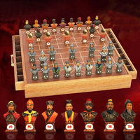 BSTFAMLY Chinese Chess Wooden Box 32Pcs/Set Old Game of Go Xiang Qi International Checkers Folding Toy Gifts No Magnetic LC15