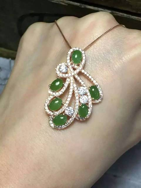 Natural jasper pingente S925 prata verde jade Natural Pingente de Colar na moda Elegante penas de Fãs mulheres jóias Do partido da Criança