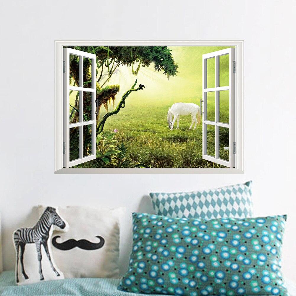 Die neue 3 d gefälschte fenster grünland weiß wohnzimmer ...