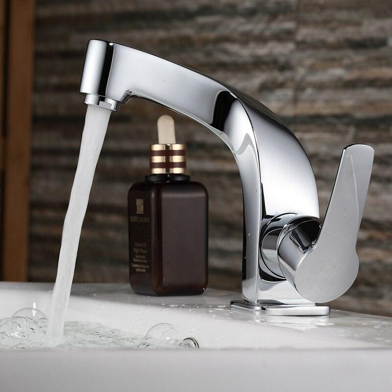 Бесплатная доставка Бакала модный кран для ванной комнаты хромированный смеситель с одной ручкой одно отверстие поверхностный монтаж Ванн...