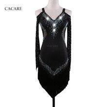CACARE платье для латинских танцев для женщин сальса танцевальные костюмы для самбы платье с воланами 5 вариантов D0336 длинный сетчатый рукав кисточкой подол Стразы