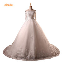 Real Photos Lace Flowers Very Sexy Backless Ball Gown Vestidos De Noiva Robe De Mariage Train