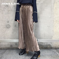 Spring Autumn Winter With Circle Fashion Velvet High Waist Wide Leg Pleated Pants Women New Trousers Clothing B6N5157Y