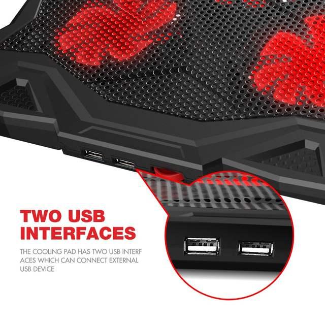 HAVIT Fan Cooling Quiet Laptop Cooling Pad LED USB Cooler Notebook with 5  Fans Noise-free Laptop Fan for Laptop 14