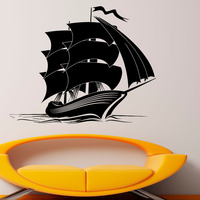 Hot Sale Ship Wall Stickers Vinyl Removable Home Decor Kids Bedroom Wall Decals Sea Boat Interior Decoration