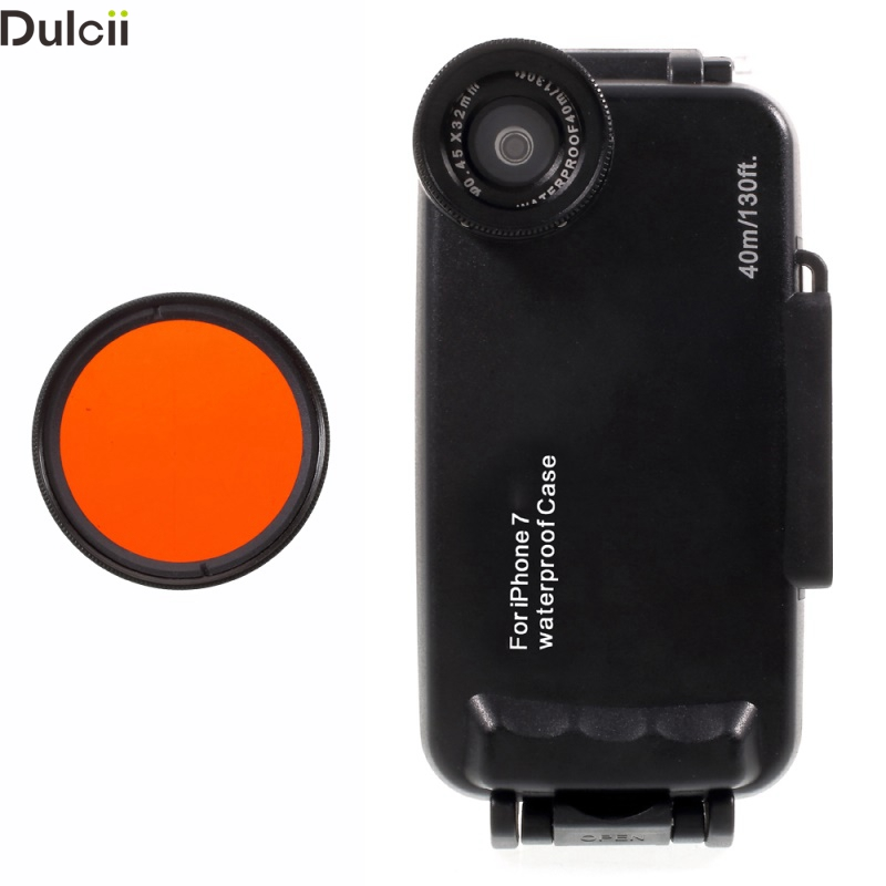 Waterproof Cover For IPhone 7 7 Plus 37mm Complete Graduated Color Filter Lens IPX8 Waterproof Diving