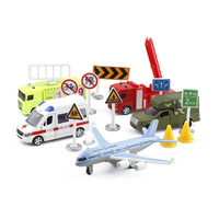 Diecast alloy car aircraft truck road sign model mini children toys pull back toy models Suit