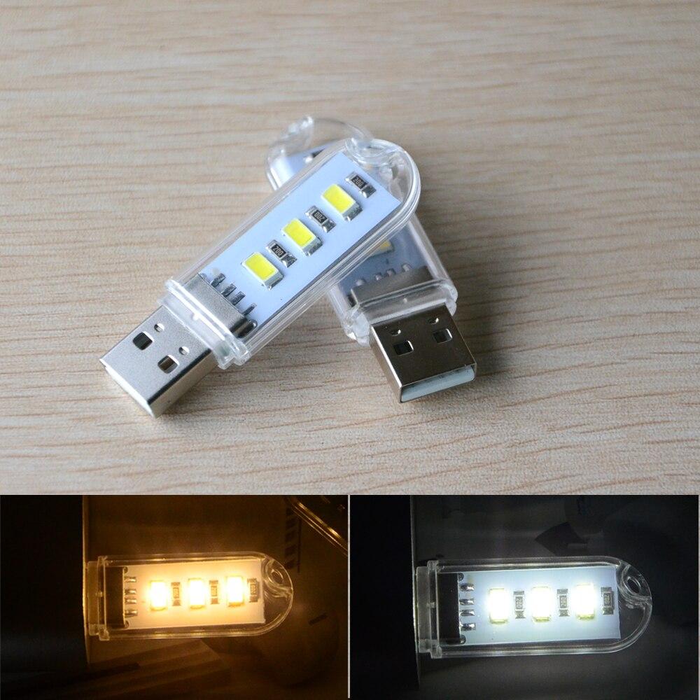 Mini USB LED Light SMD5730 3 Leds USB Book Lamp Reading Camping Lights Gadget Nightlight for Notebook Laptop Mobile Powerbank